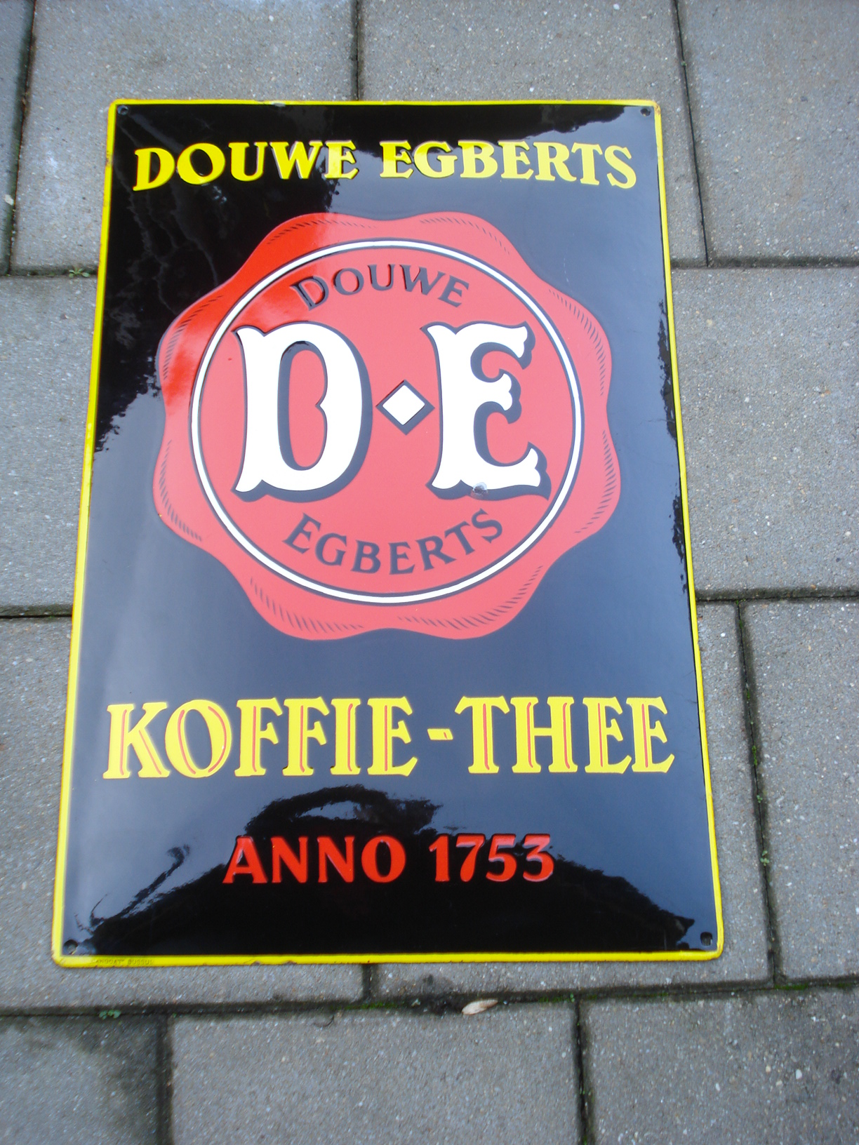 emaille bord douwe egberts,porcelain sign, email schild, plaque emaillee
