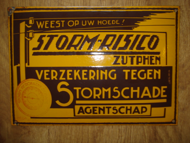 emaille bord verzekering porcelain sign email schild plaque emaillee